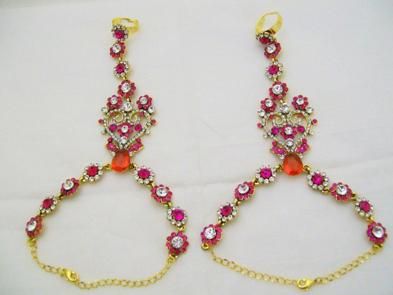 Pink Valentine Heart Crystal Rhinestone Slave Bracelet Pair