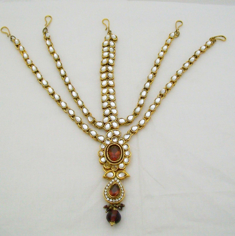 Layered Kundan Matha Shingar Patti Head Hair Piece Set