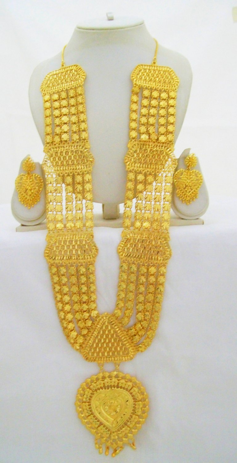 Ethnic Rani Haar Indian Wedding Bridal 22k Gold Plated Long Necklace Jewelry Set