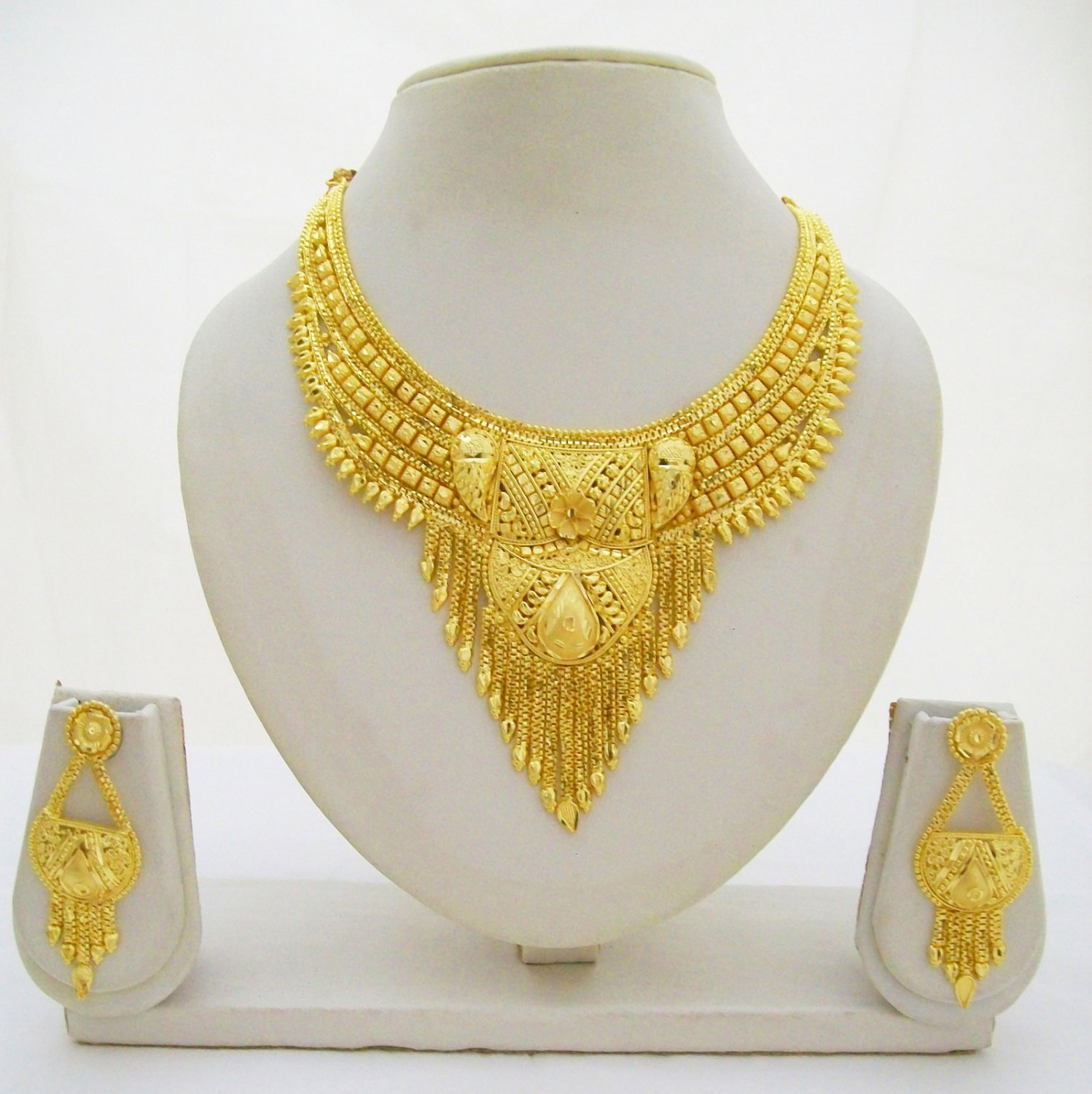 Indian Gold Plated Choker Necklace Traditional Bridal: Indian Gold Plated Choker Necklace Jewelry Set Ethnic