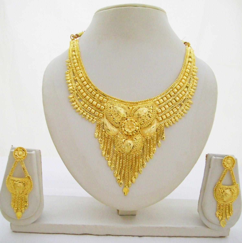 Indian Fashion Jewelry Bollywood Bridal Gold Plated Cz: Indian Gold Plated Choker Necklace Jewelry Set Ethnic