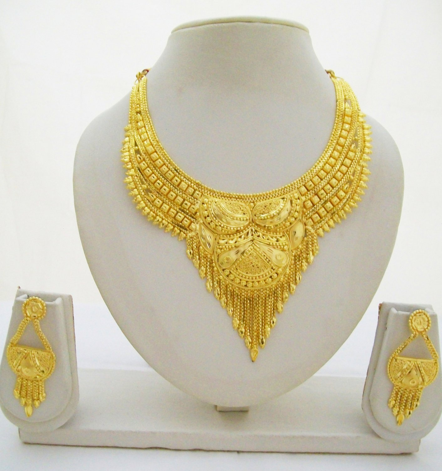 Indian Gold Plated Choker Necklace Traditional Bridal: Indian Gold Plated Choker Necklace Earring Set Traditional