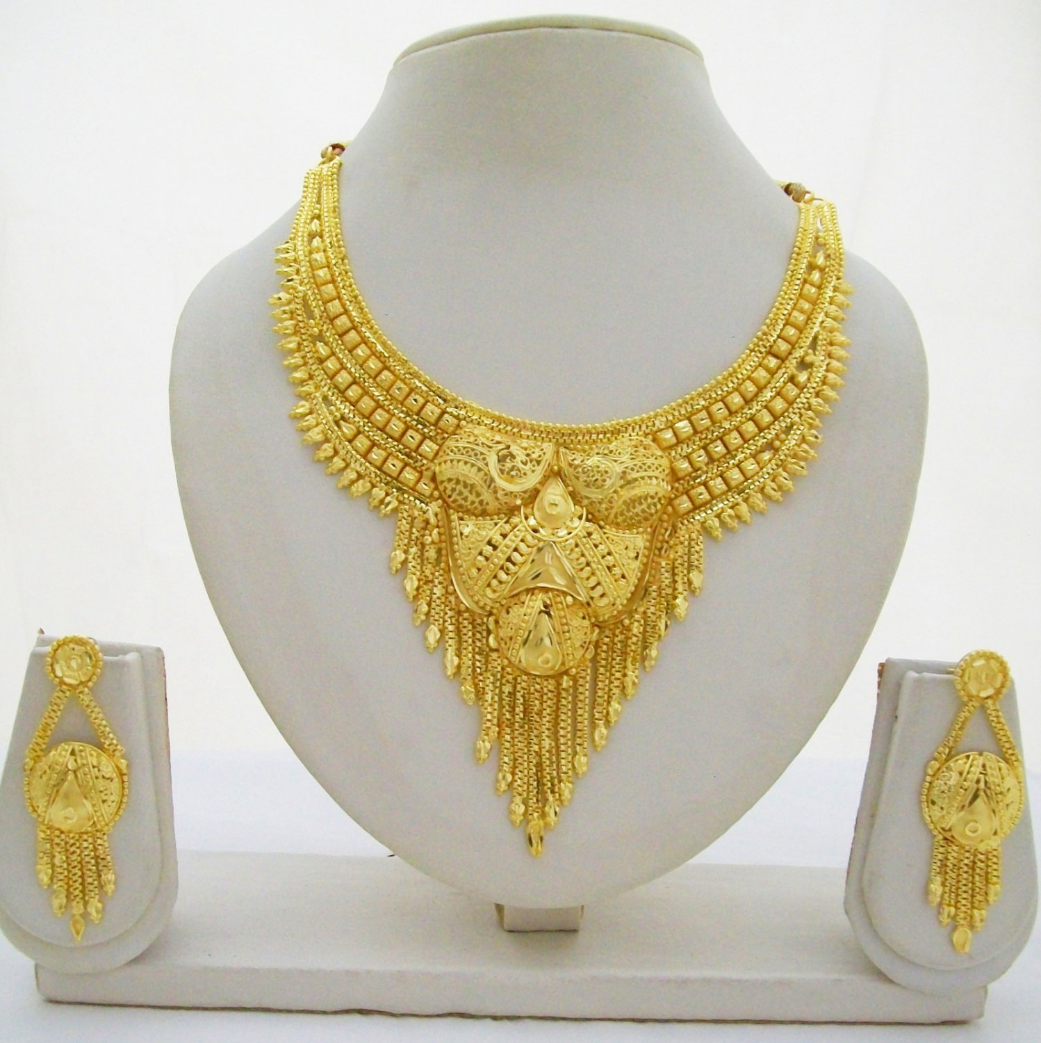 Yellow 22k Gold Plated Choker Necklace Earring Set Indian