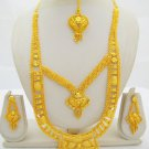 Gold Plated Indian Rani Haar Necklace Long Layered Ethnic Jewellery Set 6Pc