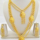 Two Layered Gold Plated Beads Ball Chain Long Necklace Indian Vintage Jewelry Set