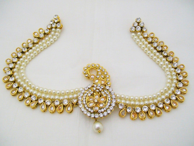 Mens Groom Kalgi Turban Sherwani Brooch with Chain Kundan Pearl New Design