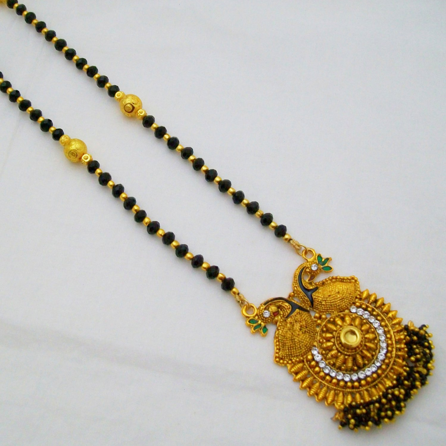 Indian 22k Gold Plated Wedding Necklace Earrings Jewelry: 22K Gold Plated Mangalsutra South Indian Wedding