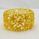 Vintage Antique Wide Gold Plated Cuff Bangle Bracelet Indian Wedding Jewelry
