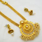 Rani Haar Long Pearl Gold Plated Necklace Set Vintage Indian Wedding Jewelry