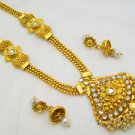 Rani Haar Long Pearl Gold Plated Necklace Set Antique Indian Bridal Jewelry