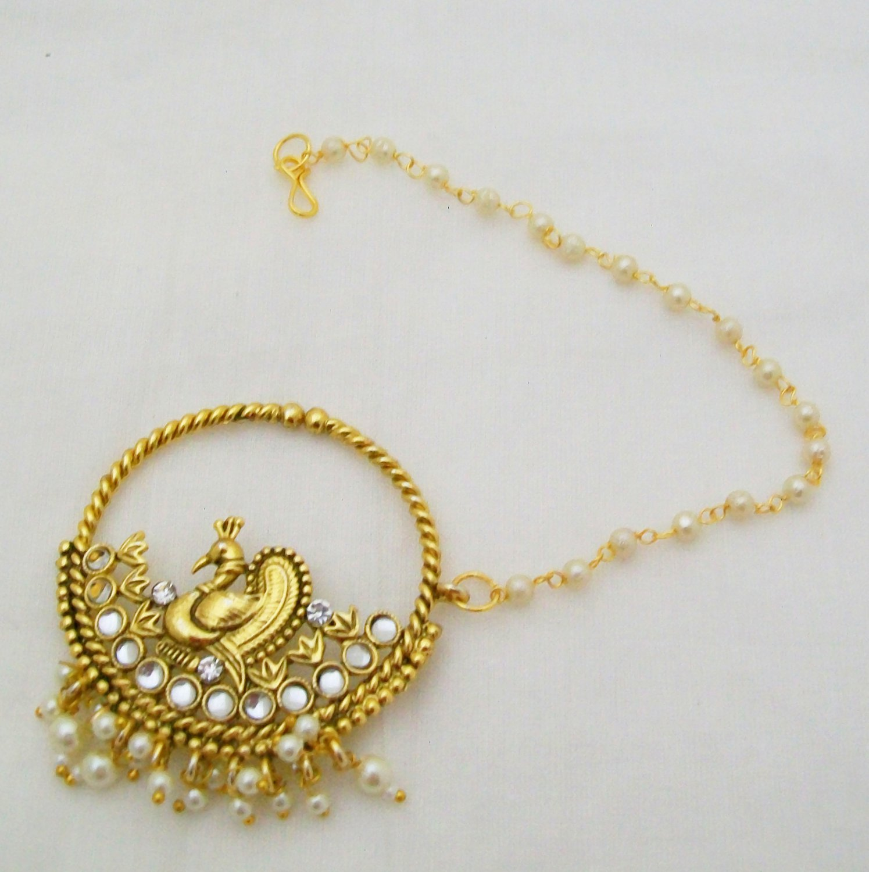 Indian Bridal Nathni Meenakari Nose Press Pin Nose Ring w Pearl Chain Peacock Bead Dangling Nath Kundan /& Pearl Nose Ring Green Stone