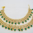 Emerald Kundan Anklets Foot Chain Payal Pajeb Indian Bridal Belly Dance Fashion Jewelry