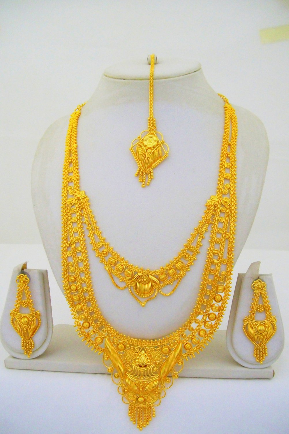 Gold Plated Indian Rani Haar Necklace Long Filigree Layered Designer Jewelry Set