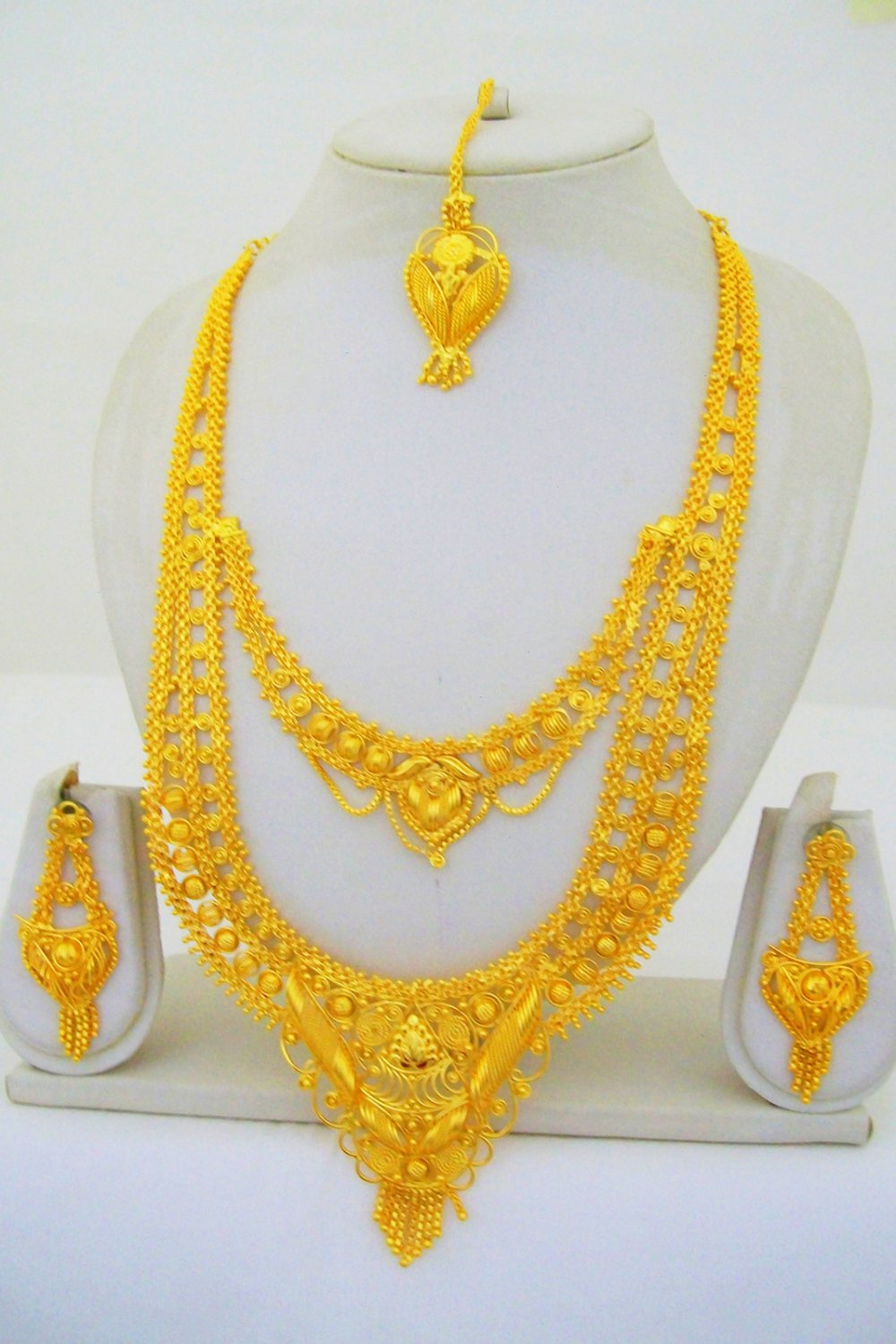 Gold Plated Indian Rani Haar Necklace Long Filigree Layered Vintage Jewelry Set