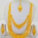Gold Plated Indian Rani Haar Necklace Long Filigree Layered Antique Jewelry Set