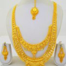Gold Plated Indian Rani Haar Necklace Long Filigree Layered Fashion Jewelry Set