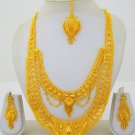 Gold Plated Indian Rani Haar Necklace Long Filigree Layered Wedding Jewelry Set