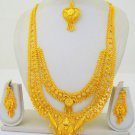 Gold Plated Indian Rani Haar Necklace Long Filigree Layered Traditional Design Women Jewelry Set