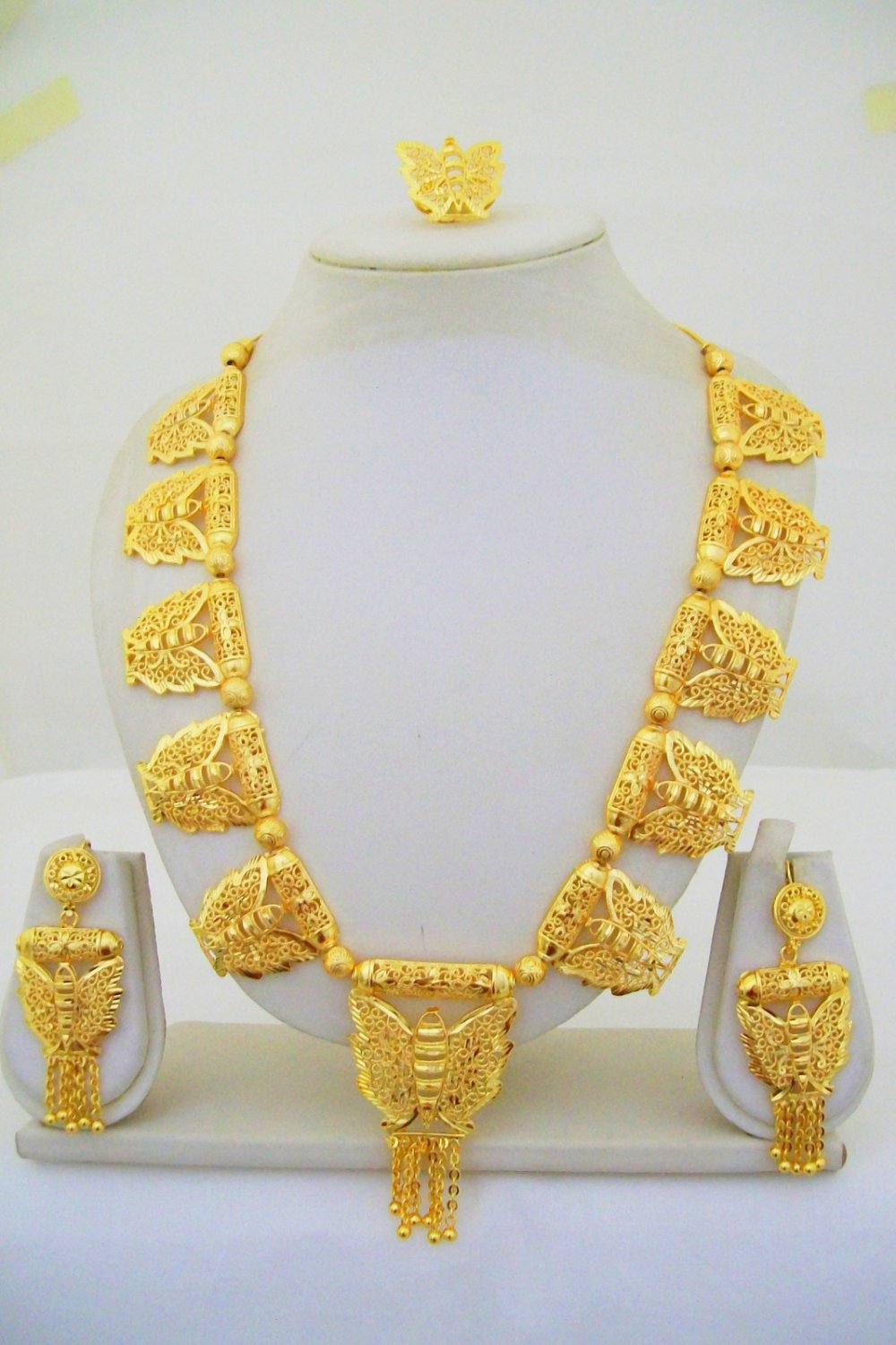 Gold Plated Beads Indian Rani Haar Necklace Bridal Long Filigree Vintage Jewelry Set