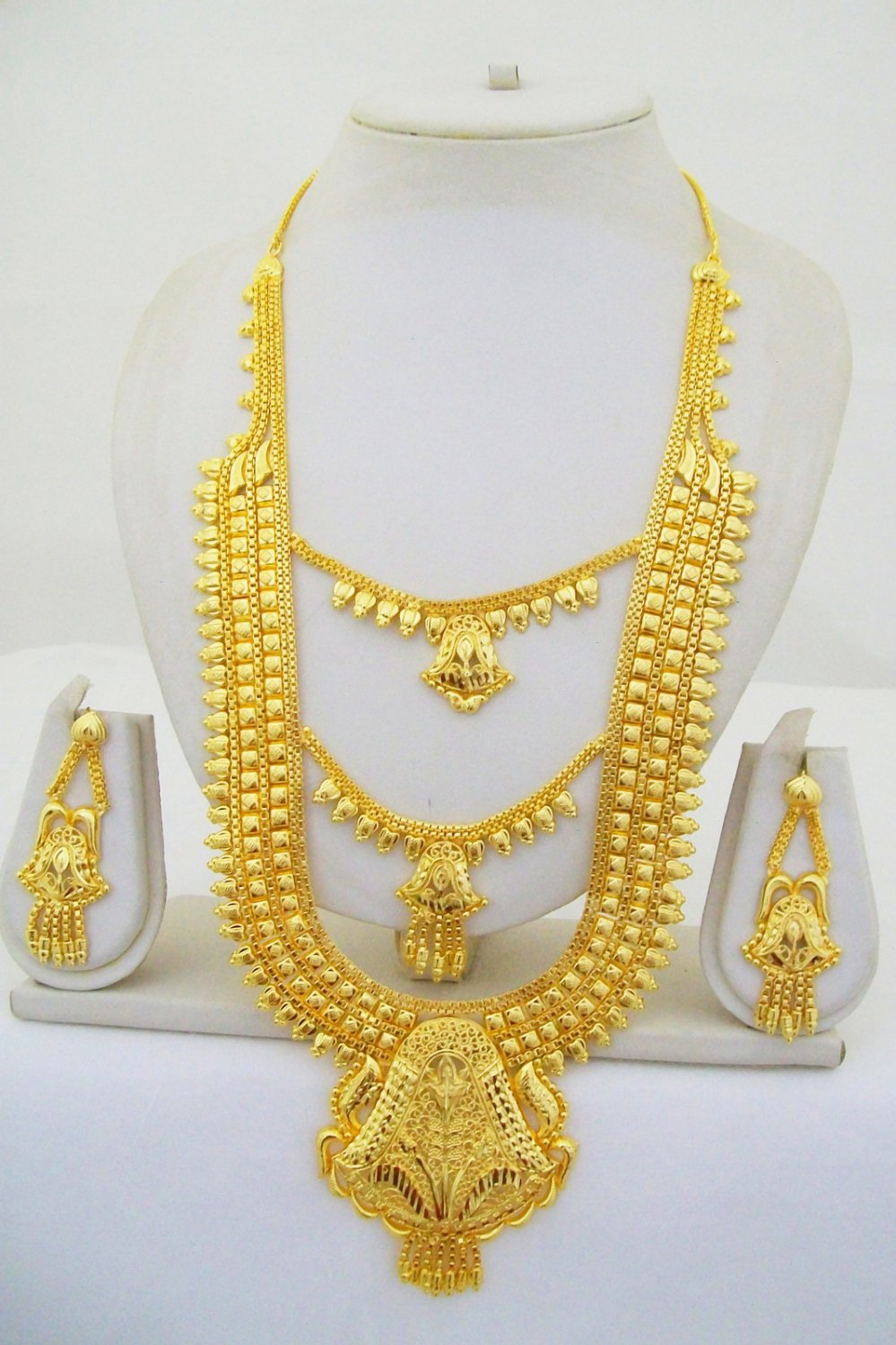 Layered Gold Plated Rani Haar Necklace Tikka Bridal Long Asian East Indian Jewelry Set
