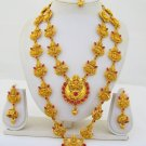 Laxmi Lakshmi Gold Plated Rani Haar Long Necklace Ethnic South Indian Temple Jewellery Set