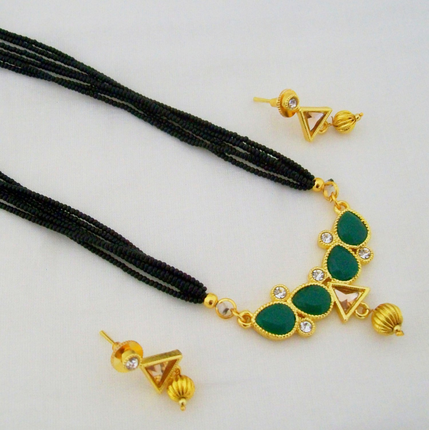 Gold Plated Green Stone Mangalsutra Set