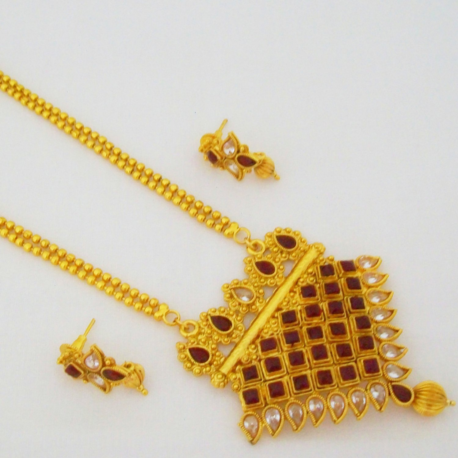 Triangle Gold Plated Long Beads Chain Pendant Necklace Jewelry Set