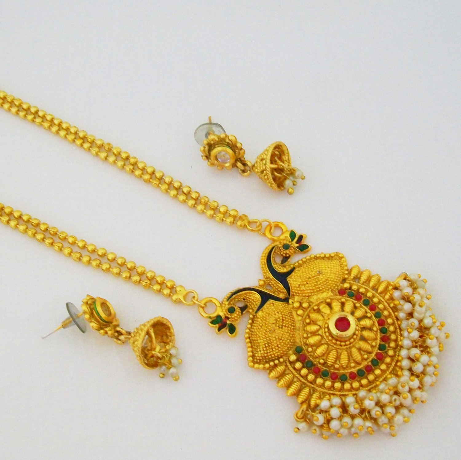Peacock Gold Plated Long Chain Pendant Necklace Meena Enamel Vintage Antique Indian Jewelry Set