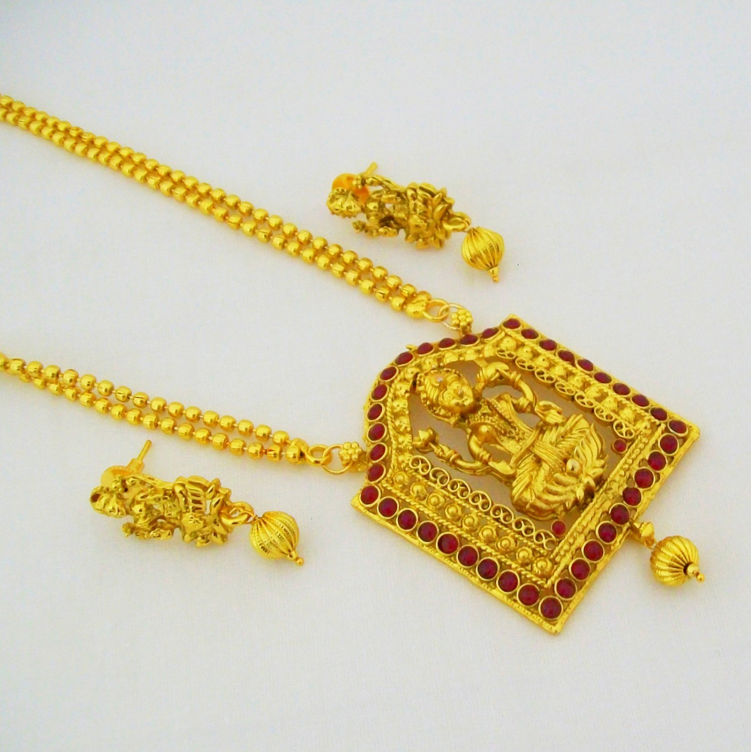 Gold Plated Laxmi Devi Long Chain Nakshi Pendant Necklace Set Indian Temple Jewelry