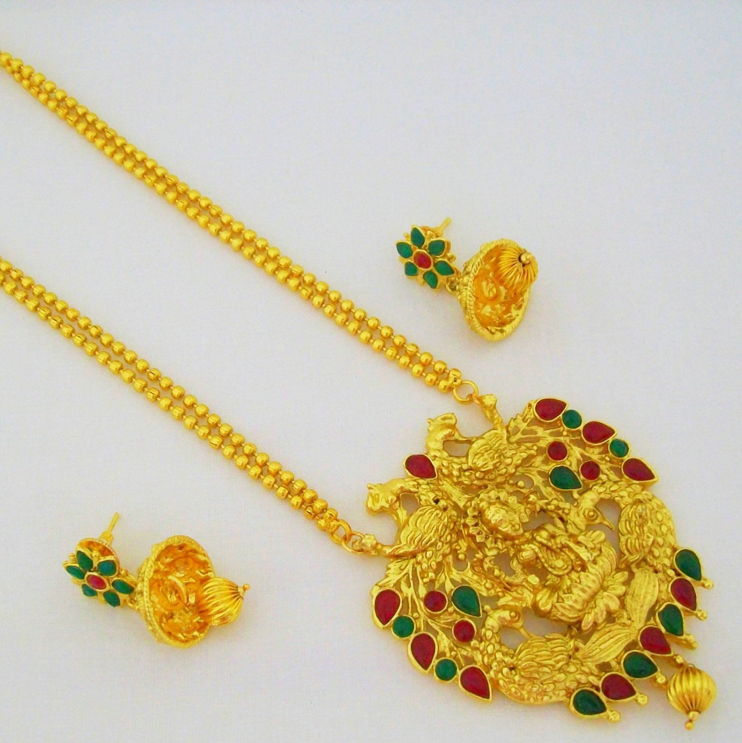 Gold Plated Lakshmi Engraved Long Chain Pendant Stone Necklace Set Indian Temple Jewelry