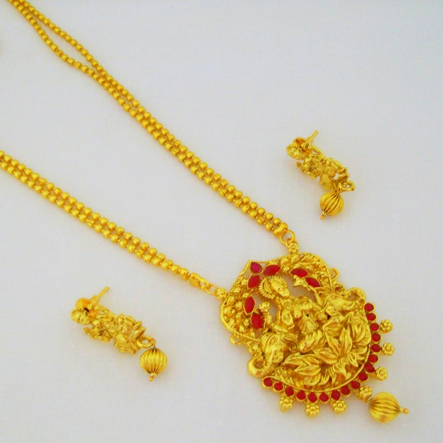 Gold Plated Laxmi Long Pendant Necklace Set Antique Indian Temple Jewellery