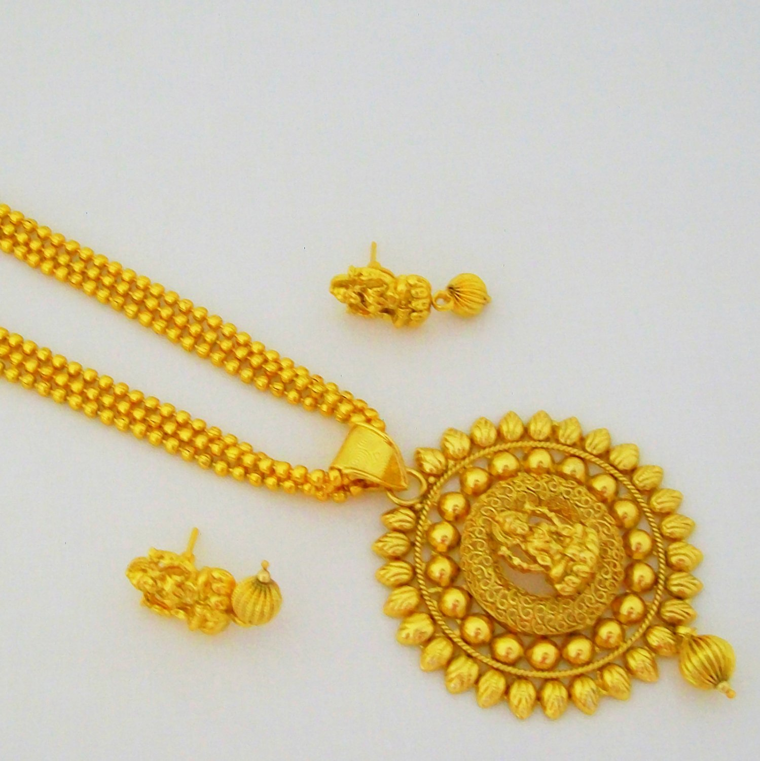 Simple Gold Plated Laxmi Long Pendant Necklace Set With Matching Earrings