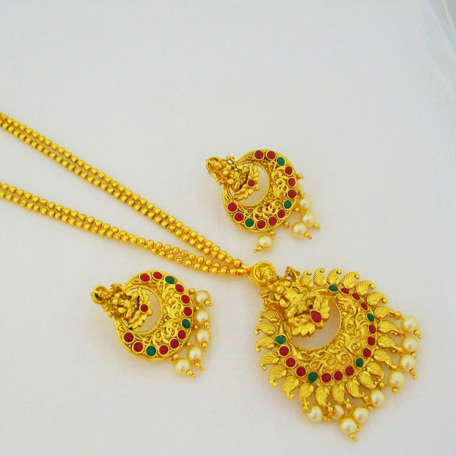 Traditional Gold Plated Laxmi Design Engraved Chain Pendant Long Necklace Jewellery Set
