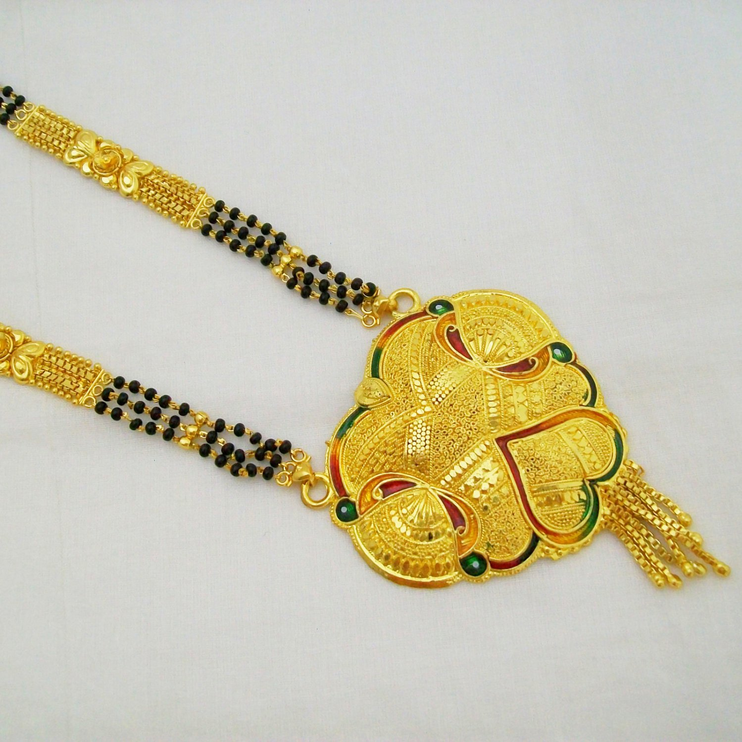 Gold Plated Mangalsutra Black Beads Chain Necklace Indian Bridal Wedding Jewelry