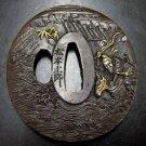 Japanese Samurai Bronze Gilt&Silver Sword Tsuba
