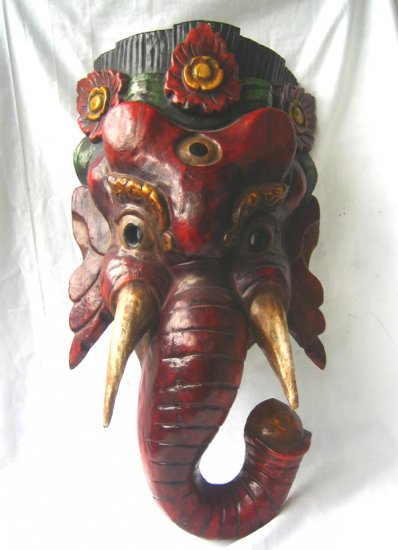 Old Tibetan Wood Red Lord Ganesha Mask Nepal