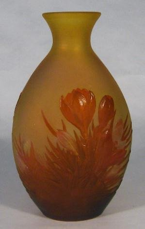 c. 1900 GALLE BLOWN OUT VASE CROCUS DESIGN
