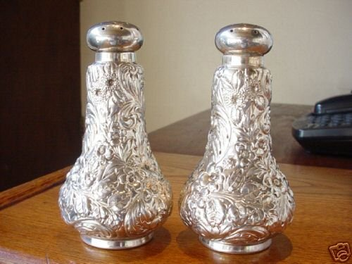 Antique Sterling Silver Repousse Shakers J.E. Caldwell