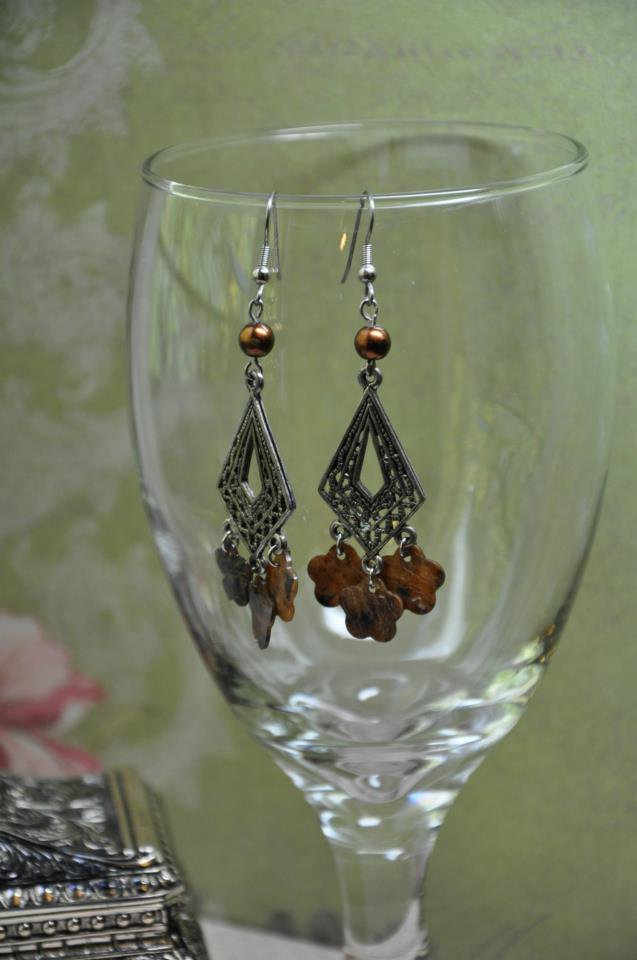 Handmade Chocolate Brown Floral Glass Pearl Chandelier Bead Earrings