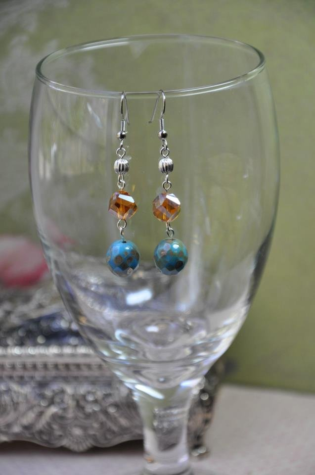 Blue Bead Gemstone w Sterling Silver Beads Earrings