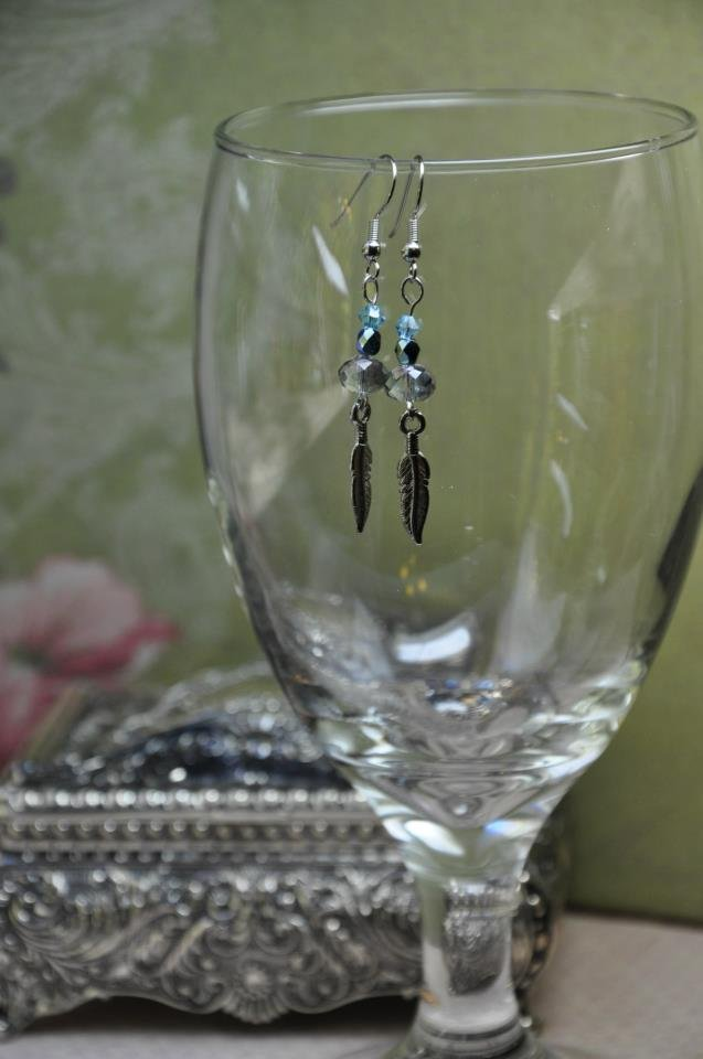 Silver and Blue Crystals With Feather Charm Bead Dangle Earrings