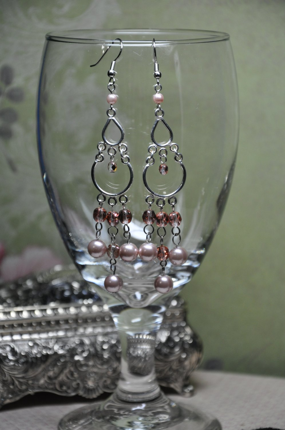 Tan Faux Glass Pearls and Czech Crystals Chandelier Bead Earrings
