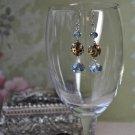 Animal Print Blue Crystal Drop Earrings
