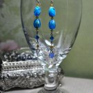 Blue and Gold Gemstone Drop Earrings