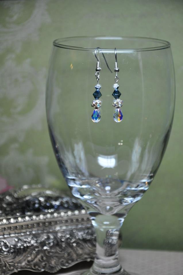 Navy Drop Rhinestone Earrings