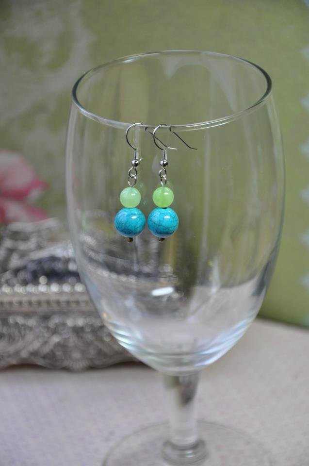 Green and Blue Dangle Earrings