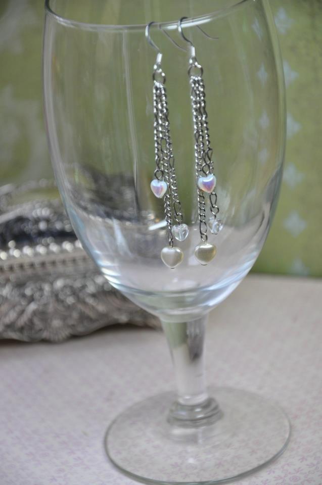 Heart Pearls on a Chain Drop Earrings