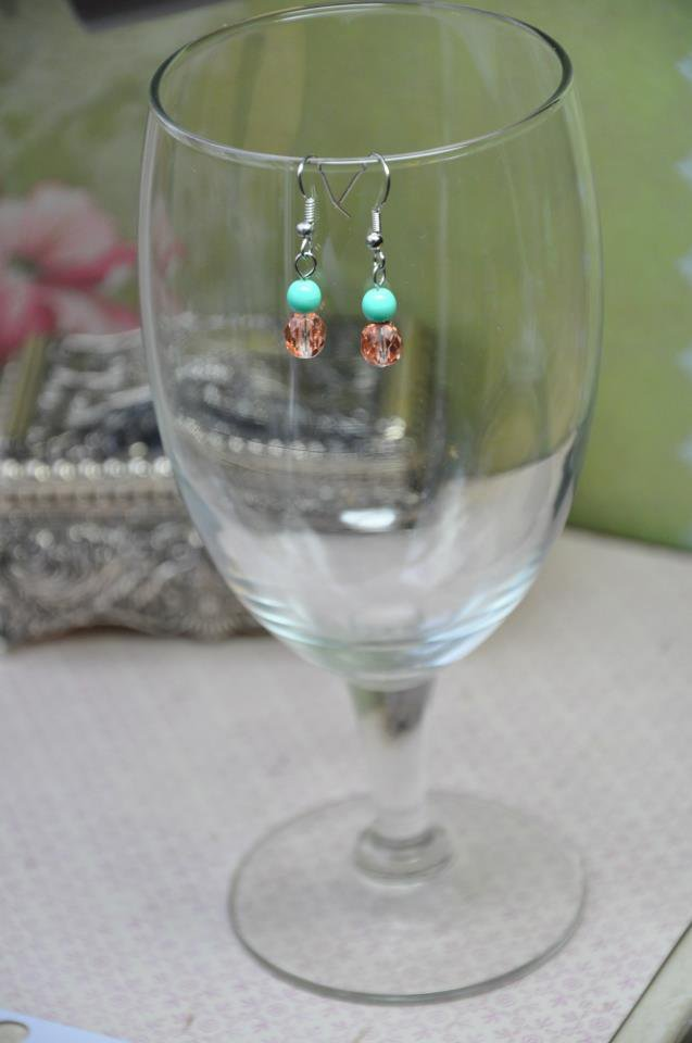 Sea Green Gold Bead Dangle Earrings