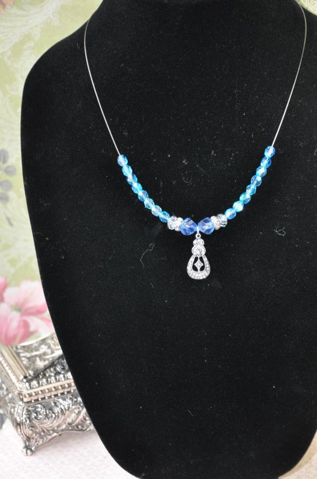 Blue Swarovski Crystal With Antique Look Bead Charm Necklace
