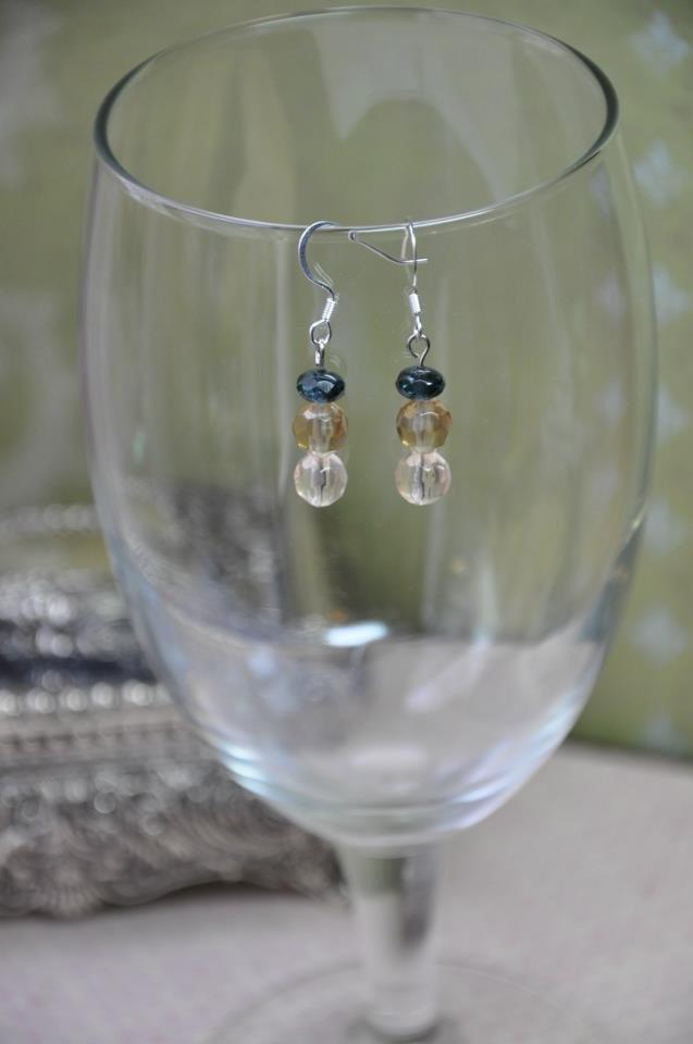 Navy Tan Bead Dangle Earrings